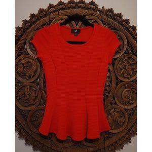 Cherry Red Peplum Shirt